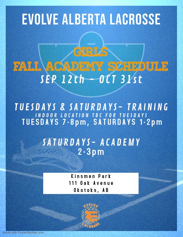 Evolve girls fall schedule update